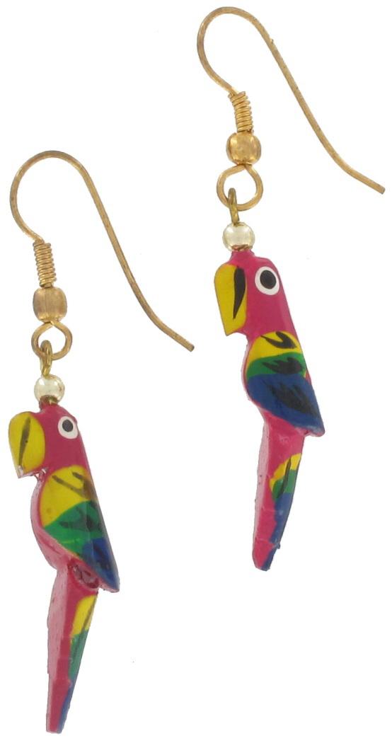 Vintage 1980s Wood Fuschia Bird Parrot Dangle Earrings