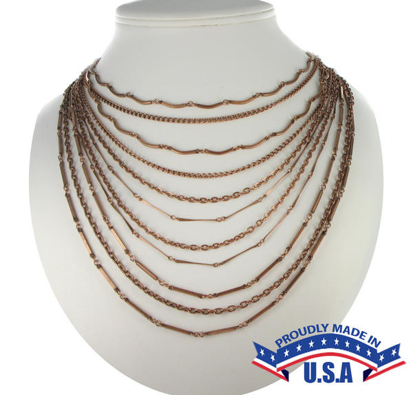 Ky & Co Copper Tone Multi Strand Layered Chain Link Bib Necklace USA Made