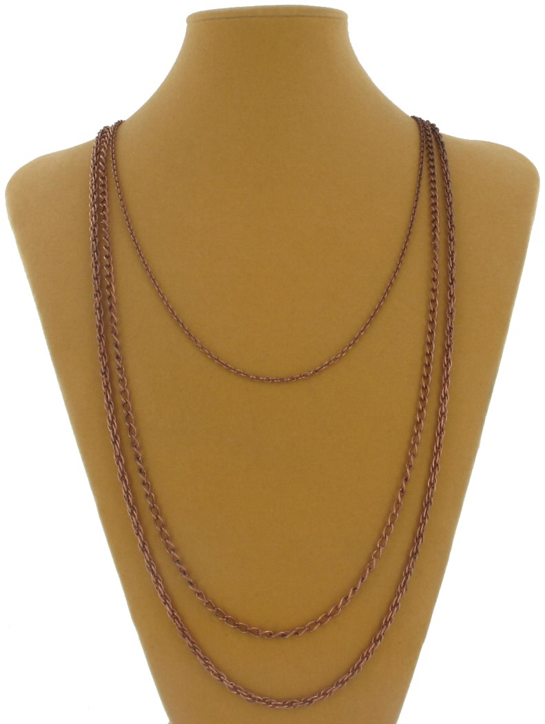 Ky & Co Copper Tone Layered Chain Multi Strand Necklace