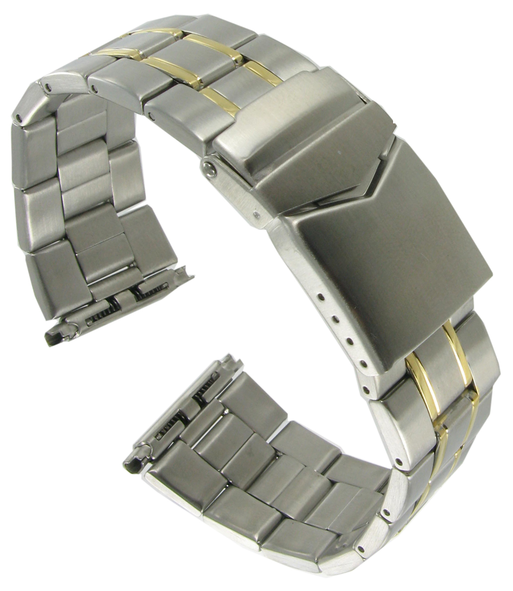 Hadley Roma Mb9247t 2026mm Two Tone Stainless Mens Wide Link Metal Watch  Band