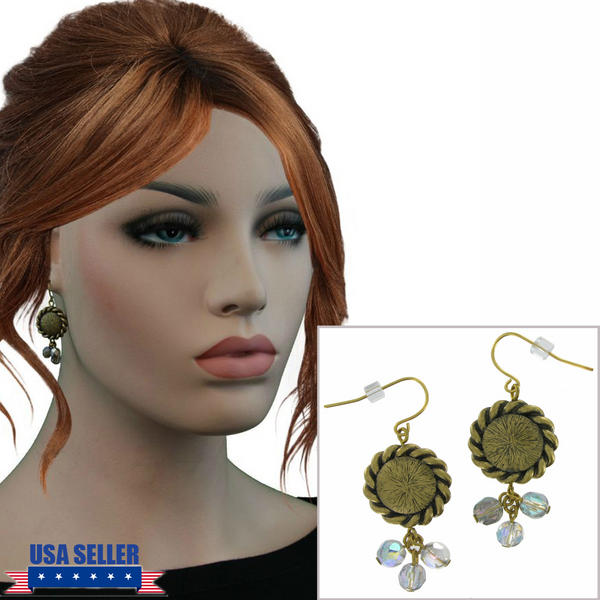 Antiqued Gold Tone Disc Ab Crystal Beaded Earrings