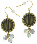 Antiqued Gold Tone Disc Ab Crystal Beaded Earrings Thumbnail 3