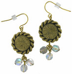 Antiqued Gold Tone Disc Ab Crystal Beaded Earrings Thumbnail 2