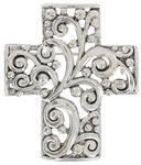 Silver Tone Openwork Cross Religous Scrollwork Pin Brooch
