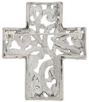 Silver Tone Openwork Cross Religous Scrollwork Pin Brooch Thumbnail 2