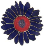 View Item Vintage Cloisonne Blue Red Lotus Flower Pin Brooch