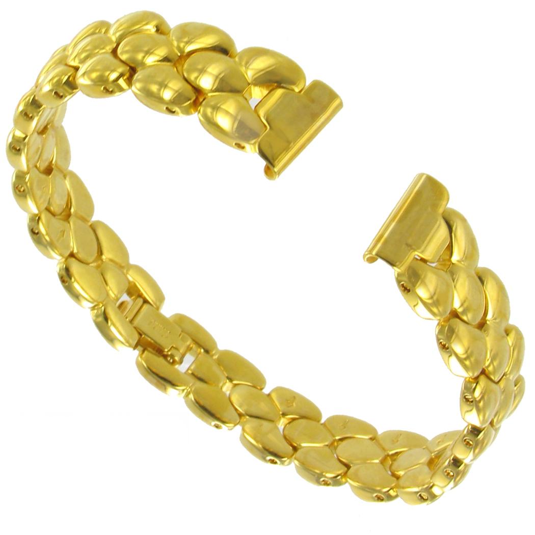 Gold Band Bracelet: 10mm Gold Tone Ladies Solid Link Bracelet