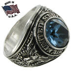 USA Air Force Ring Blue Crystal Made in US Silver Tone Sz 14