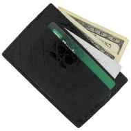 Hadley Roma Made USA Card Case Mens Wallet Genuine Black Crocodile Credit Holder