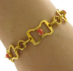 View Item Vintage 1930's Deco Gold Tone Orange Red Link Bracelet