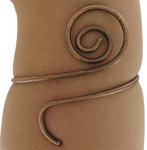Ky & Co USA Made Upper Arm Bracelet Copper Ox Tone Metal Spiral Cuff Scroll Armlet Thumbnail 4