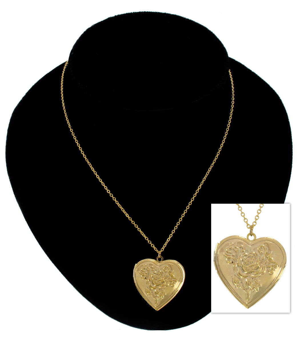 KY & Co USA Made Pendant Locket Necklace Gold Tone Rose Heart Photo Metal