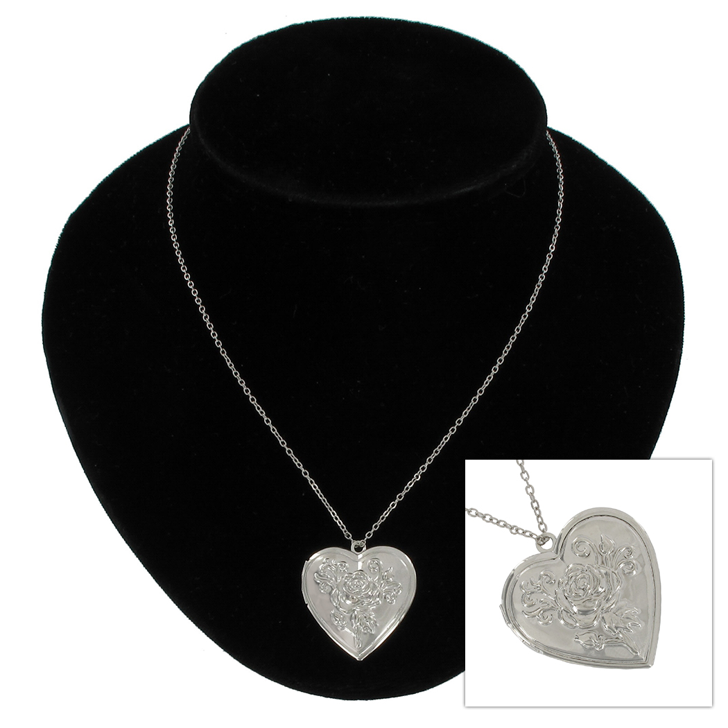 KY & Co USA Made Pendant Locket Necklace Silver Tone Rose Heart Photo Metal