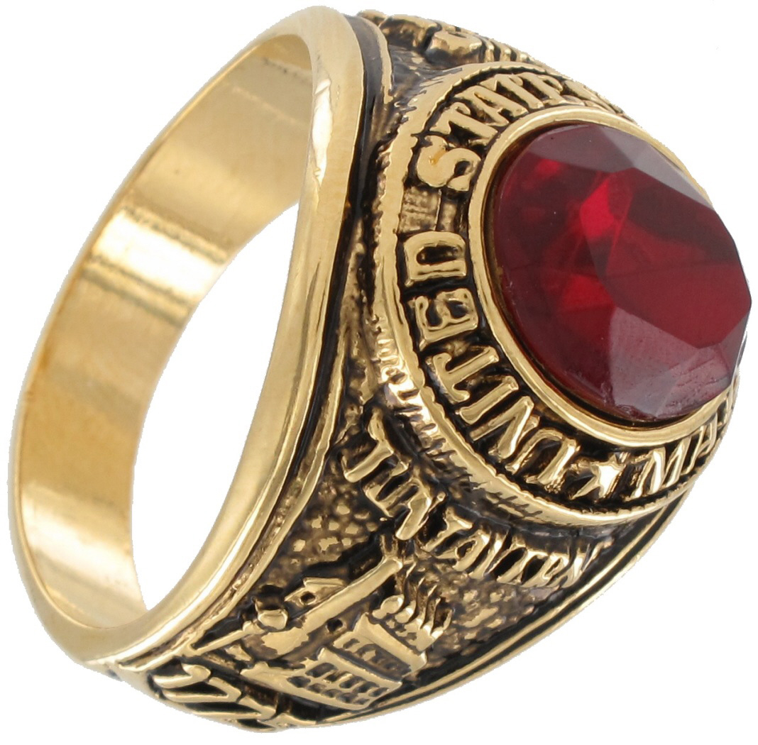 Made In Usa Mens Us Marines Gold Electroplate Red Tun