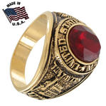 Made USA Ring Mens Us Marines Gold Electroplate Red Tun Tavern Iwo Jima Sz 14