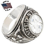 USA Navy Ring White Gold GE Clear Cz Made In The US Sz 14