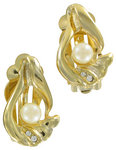 View Item Clip Earrings Faux Pearl Gold Tone Rhinestone Vintage