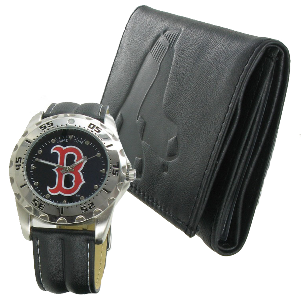 Game Time Watch Wallet Mens Boston Red Sox Leather Gift Set MTO