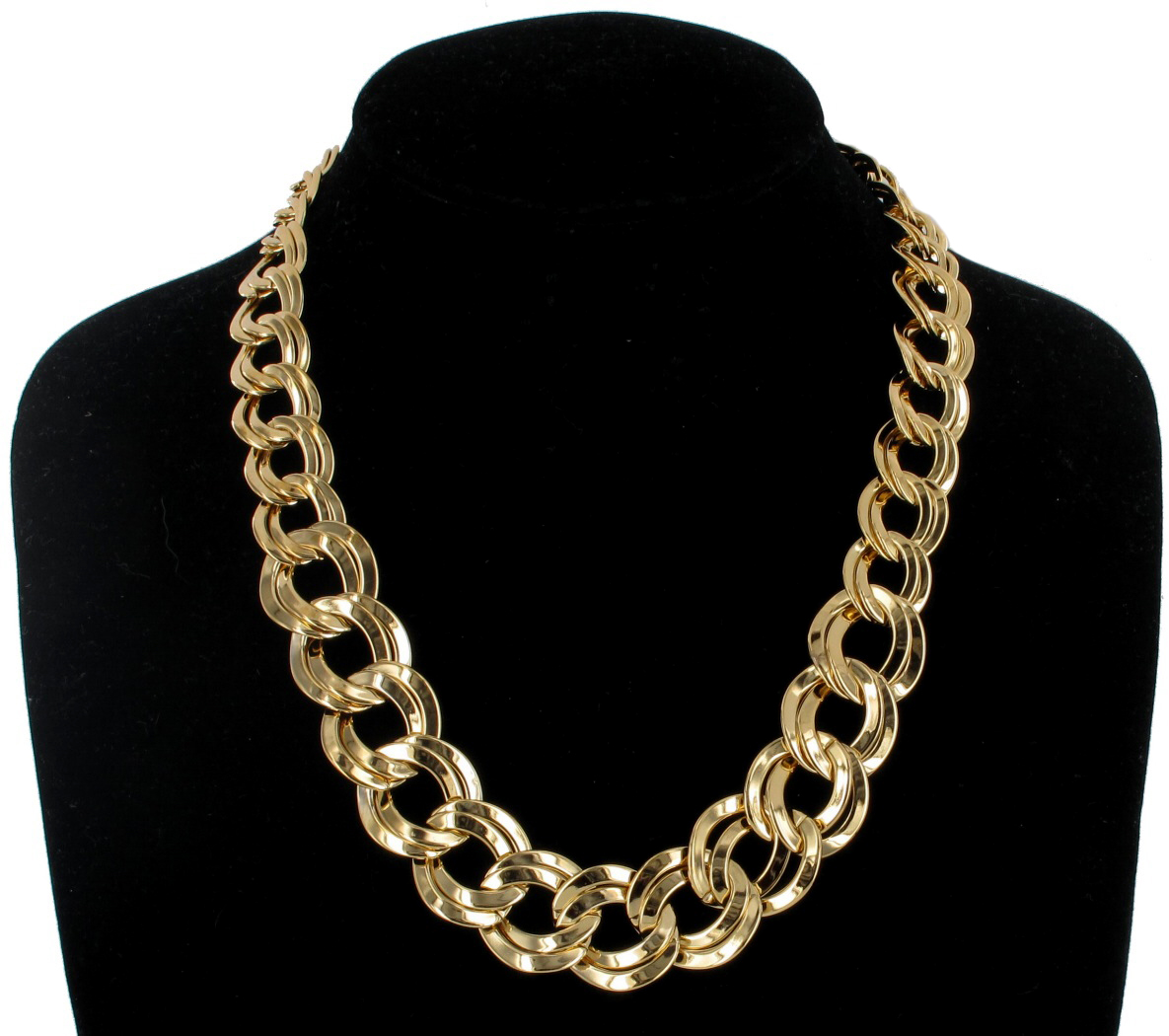 Gold Tone Graduated Chunky Link Circle Chain Necklace