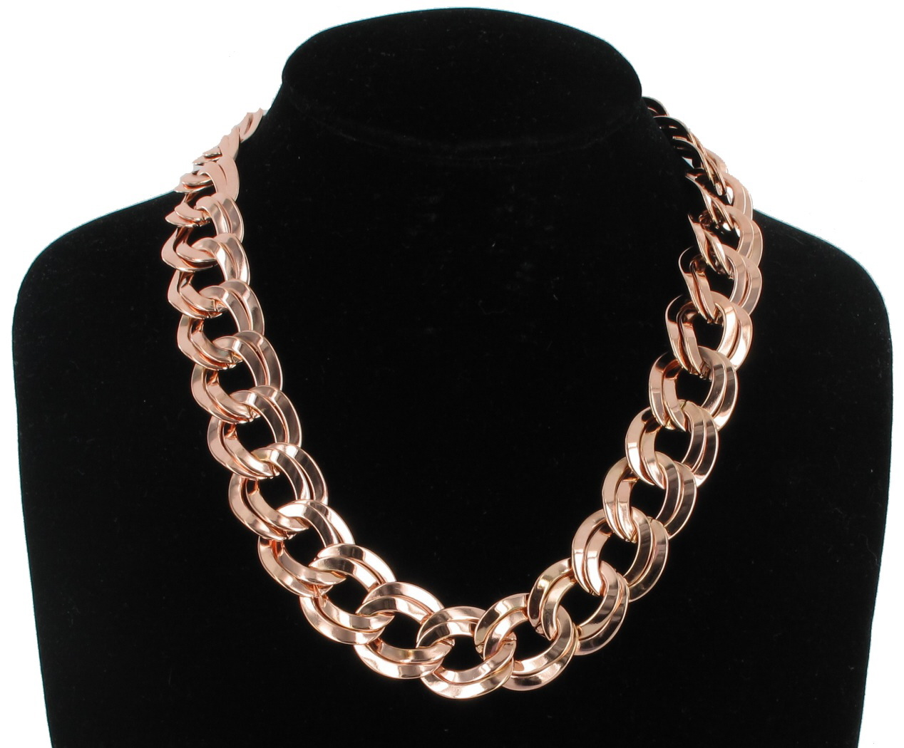 Rose Gold Tone Chunky Double Link Chain Statement Necklace USA Made