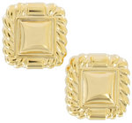 View Item Clip Earrings Yellow Gold Tone Button Large Big Lightweight Square