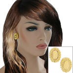 "Clip On Earrings Yellow Gold Tone Button Large Big Lightweight Oval 1"" Thumbnail 1"