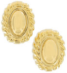 View Item Clip Earrings Yellow Gold Tone Button Large Big Lightweight Oval
