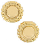 View Item Clip Earrings Yellow Gold Tone Button Large Big Lightweight Round Rope