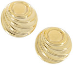 View Item Clip Earrings Yellow Gold Tone Large Button Big Lightweight Wavy Round
