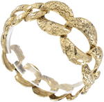View Item New Gold Tone Niello Graduated Etched Link Chain Bracelet
