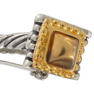 Two Tone Ionic Column Bar Pin Brooch Gold Silver Tone Thumbnail 3