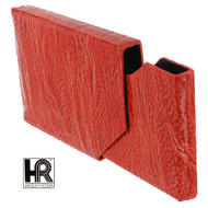 Orange Textured Leather Business Card Case Holder