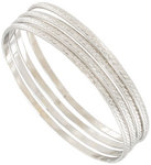 Ky & Co Bangle Bracelet Cambridge Silver Tone Thin USA Set 4 Metal Regular Sz Thumbnail 1