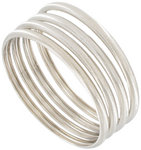 Ky & Co Bangle Bracelet Silver Tone Ribbed Made USA Set 4 Thumbnail 1