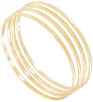 Ky & Co Bangle Gold Tone Swirls Thin Xl Large Set of 4 Bracelets Made In USA