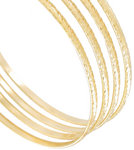 Ky & Co Bangle Gold Tone Swirls Thin Xl Large Set of 4 Bracelets Made In USA Thumbnail 2