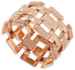 View Item Link Bracelet Rose Gold Plated Large Chunky Wide Ladies Made USA