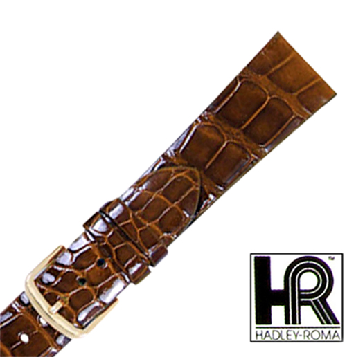 Hadley Roma MS2009 18mm Chestnut Genuine Alligator Watch Band Shiny Tapered SPO