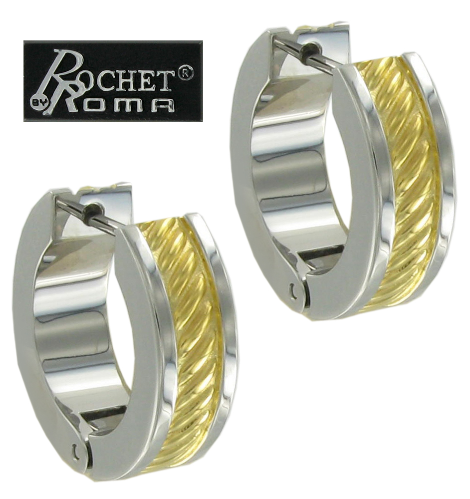 Rochet Hoop Earrings Mens Stainless Steel Gold Plate Heavy Cable Design