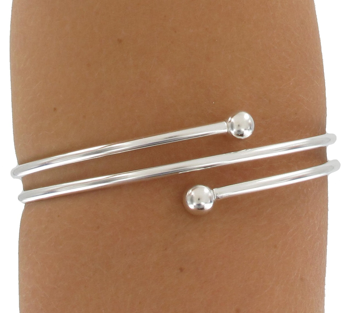 KY amp Co USA Made Bracelet Upper Arm Silver Tone Triple Armlet Ball End