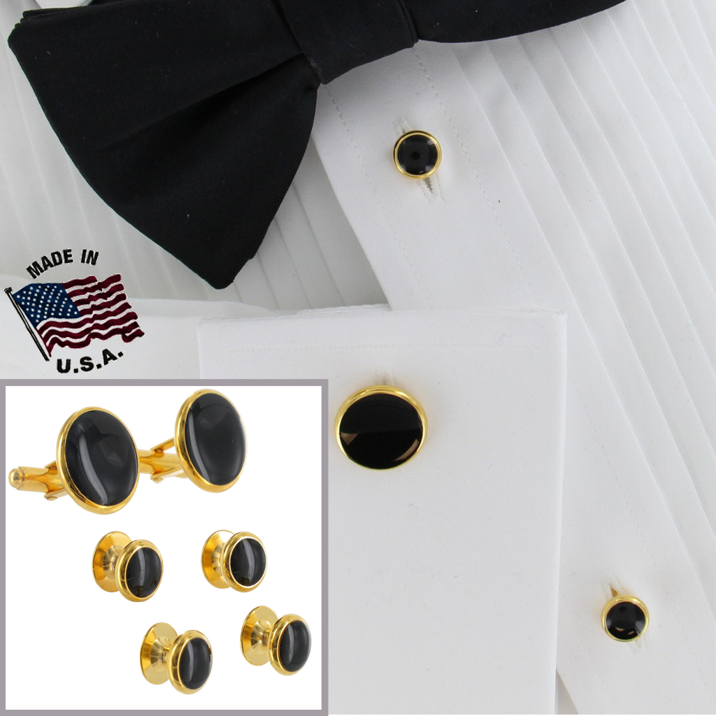 Mens Tuxedo Set Shirt Studs Circle Black Gold Tone Round