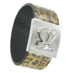 Statement Cuff Bracelet Leather Leopard Cheetah Animal Print Heart