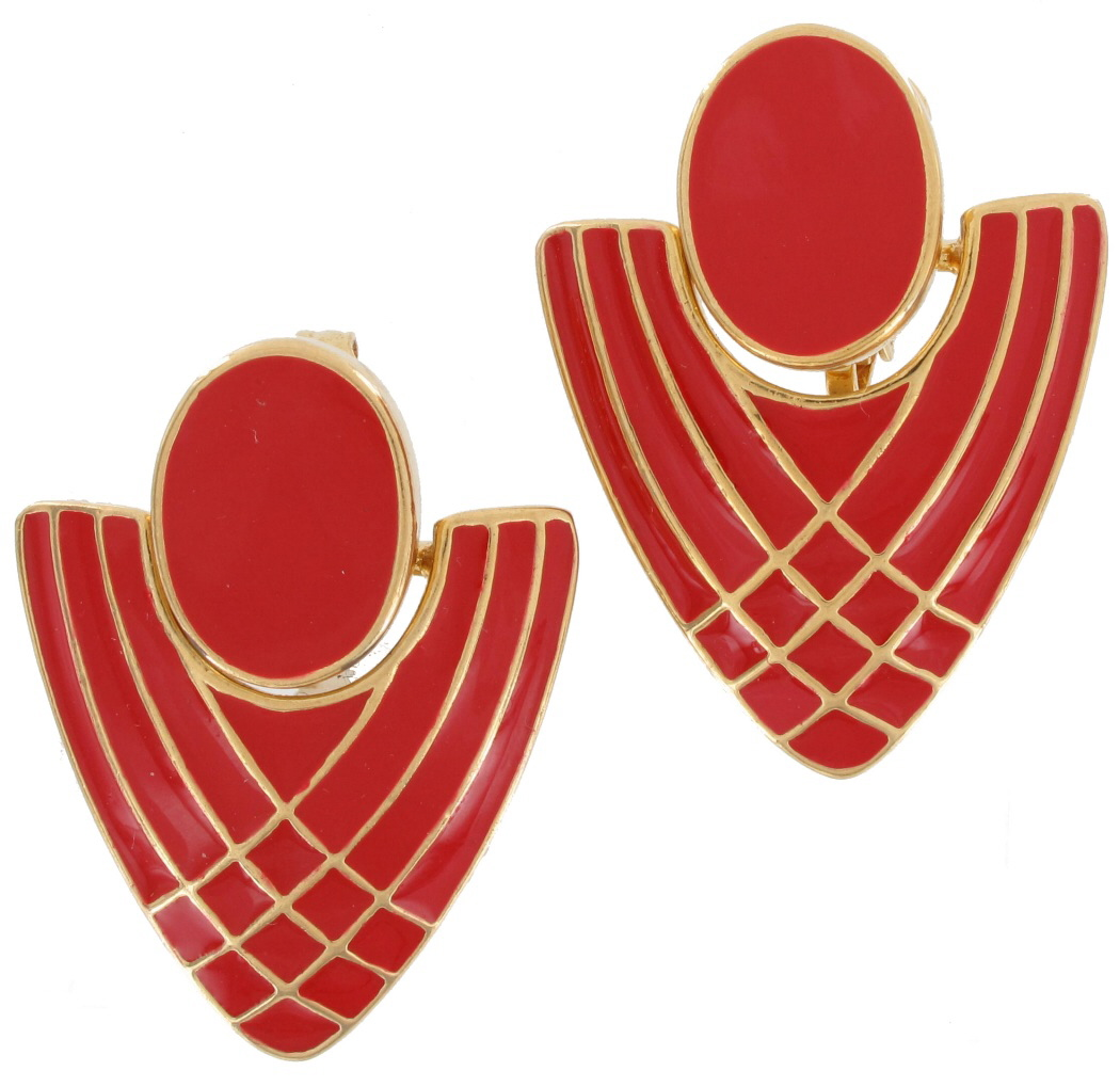Clip On Earrings Gold Plated Enamel Geometric Doorknocker Vintage 1980s Red Preview