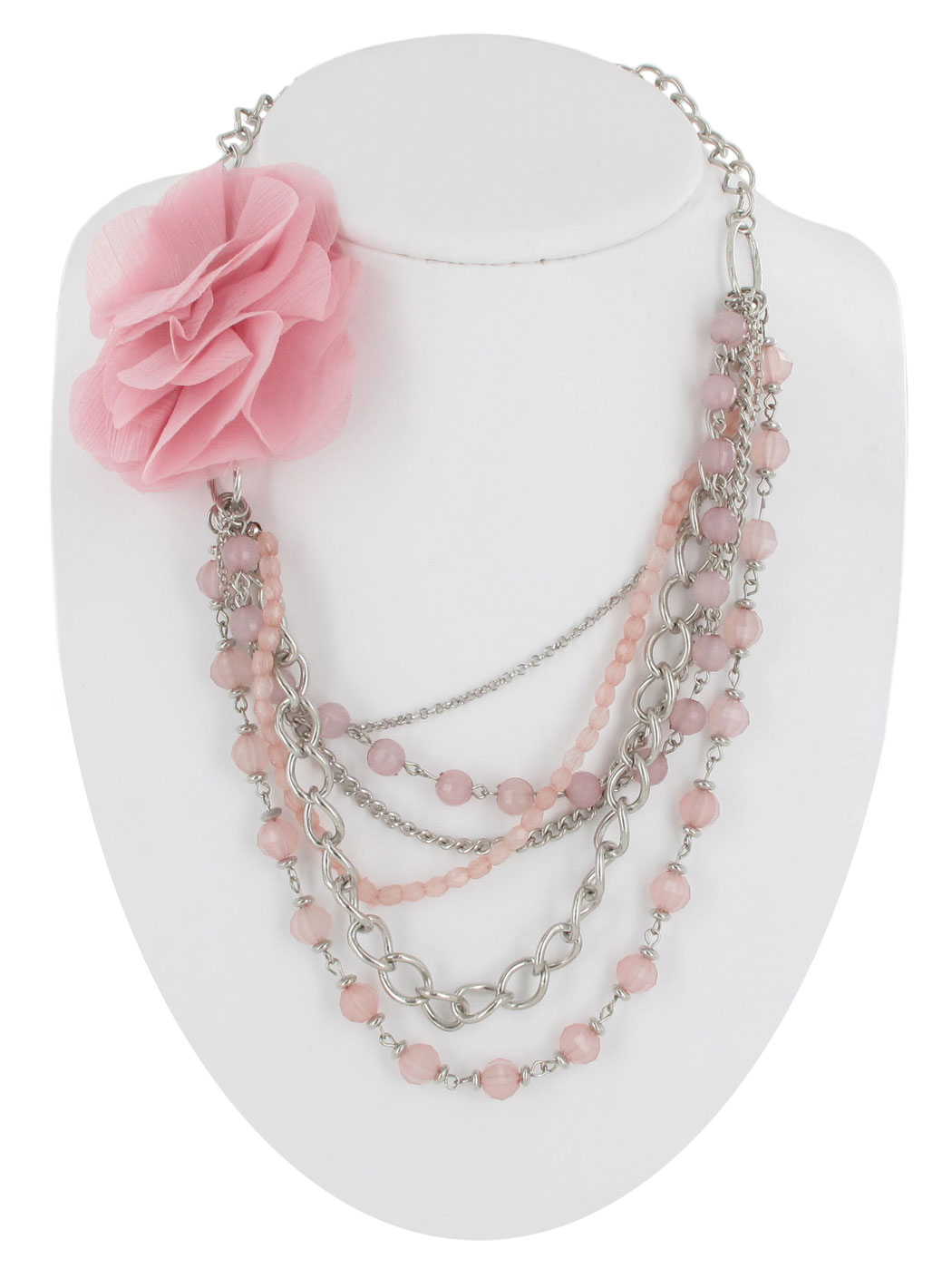 beaded necklace light pink faceted layered chains flower