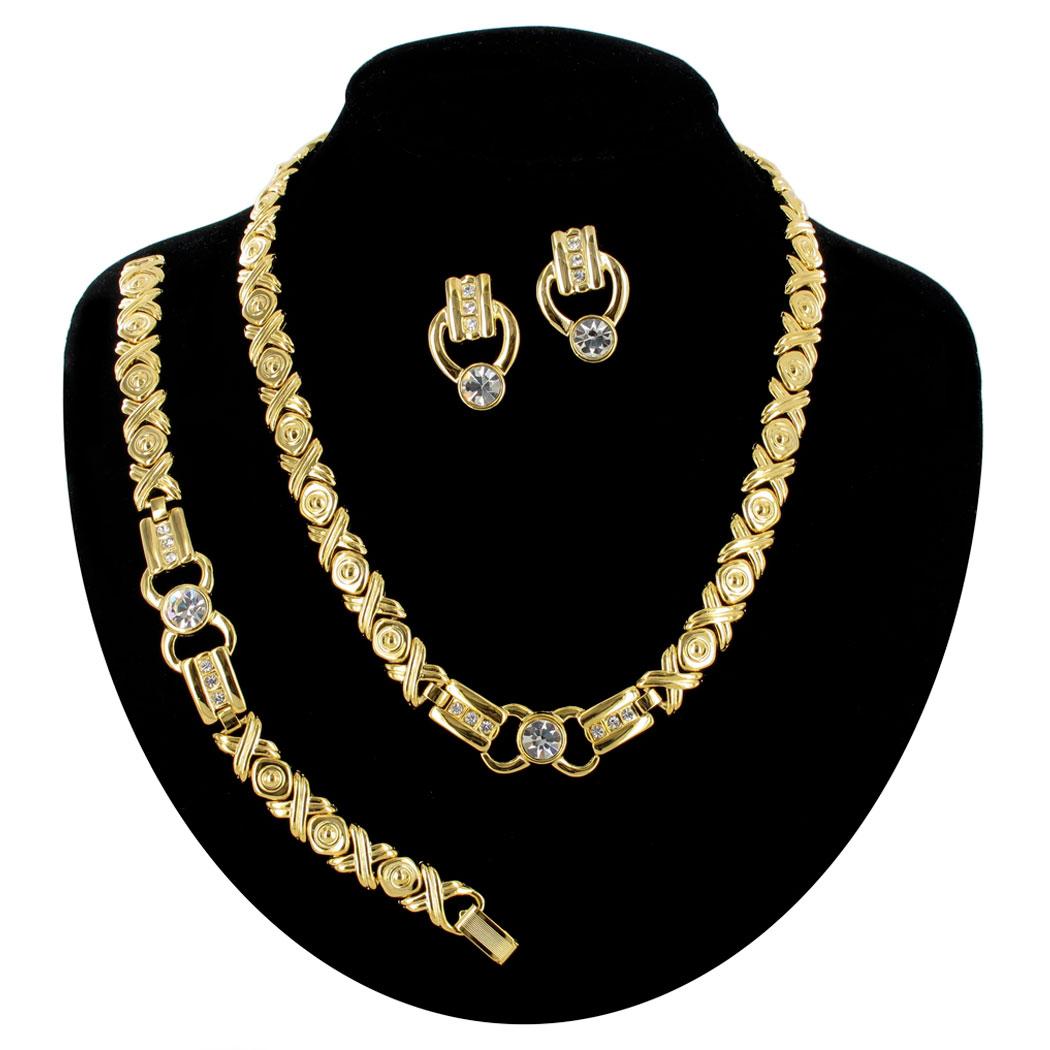 vintage rhinestone gold tone xo deco style link necklace