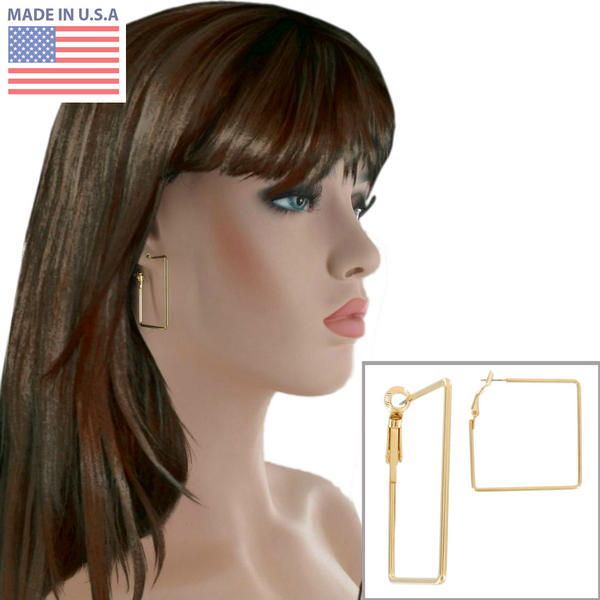 Ky & Co Gold Tone Square Hoop Pierced Earrings USA Made 1 5/8""