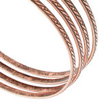 Ky & Co Bangle Bracelet Antiqued Rose Gold Tone Thin USA Set 4 Cambridge Thumbnail 2