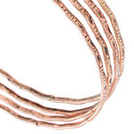 Ky & Co Antiqued Rose Gold Tone Thin Bangle Bracelet Set 4 Tribal Etched USA Made Thumbnail 2