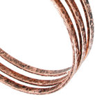 Ky & Co Bangle Bracelet Set 3 Antiqued Rose Gold Tone Thin Hammered Regular Sz Thumbnail 2