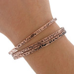 Ky & Co Bangle Bracelet Set 3 Antiqued Rose Gold Tone Thin Hammered Regular Sz Thumbnail 3